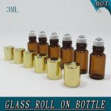 Flacon en verre vide en laiton antique en laiton de 3 ml sur bouteille