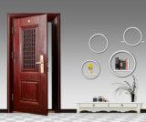 Porta de aço principal com uma pequena janela, ventile a porta em porta