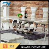 食堂はステンレス鋼表の大理石のダイニングテーブルをセットした