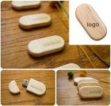 Regalo de madera vendedor caliente de la insignia del laser del mecanismo impulsor del flash del USB