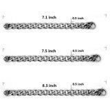 Jóias de aço inoxidável Jóias de ligação masculina Silver Balck 8.3 Inch