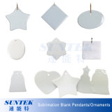 Sublimation Blank Coated Pendant Ornamentos de cerâmica branca