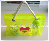 Sacchetto di acquisto variopinto del sacchetto di mano del PVC del nylon con la maniglia pura del cotone (YJ-E018)