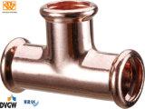 Kupferne Presse passende T-Kupplung Verkleinerung 22*18*22