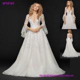 Мантия W18161 длиннего шнурка платья венчания шеи втулки глубокого v глянцеватого Bridal