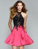 Платья вечера a партии нового прибытия сексуальные - линия Appliques отбортовывая платье V-Шеи мантии с застежкой -молнией свободно