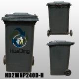 240L lixo plástico roda de borracha para a piscina