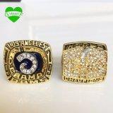 Un Super Bowl 1999 del conjunto (2PCS) St. Louis pega el anillo 1979 de campeonato de las RAM de Los Ángeles con los anillos de la reproducción del rectángulo de madera
