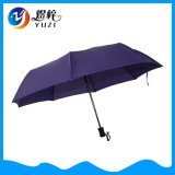 開いた自動車および近い8パネル3の折る広告の傘