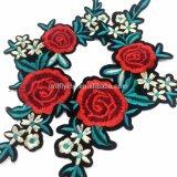 Comercio al por mayor de la flor rosa bordado personalizado parche bordado de prendas de vestir