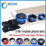 3 in 1 Fisheye + wijd Hoek + de MacroZoomlens van de Foto van de Telefoon die voor iPhone 6 wordt geplaatst