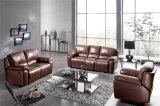 Marrón Color de amortiguador grueso asiento y respaldo reclinable de cuero Sofá