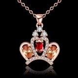 Halsband van de Tegenhanger van Zircon van de Kroon van de Verkoop van de buitenlandse Handel nam de Populaire Gouden Geplateerde Juwelen toe
