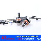 Фара H11 шарика освещения 45W СИД 6000lm Canbus A3 СИД для фары автомобиля, света тумана
