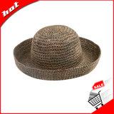 Sombrero natural de las mujeres del sombrero de paja del Seagrass del sombrero de paja