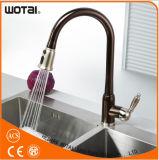 La singola leva estrae il rubinetto della cucina con il globo rifinito