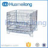 Dobrar o material Metal gaiolas de malha de arame de armazenamento de aço com Rodas