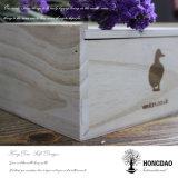 Caja de embalaje estampada caliente de encargo Wholesale_F del regalo de madera de la insignia de Hongdao