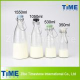 500ml 1000ml 1500ml Clip Ceramic Lid Clear Glass Milk Bottles