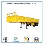 de 12.4m do triângulo 40t do pneumático de Fuwa 3 do eixo de parede lateral da base lisa do caminhão reboque Semi para Vietnam