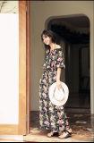 2017 платьев женщин типа длиннего платья флористической печати способа лета шифоновых новых