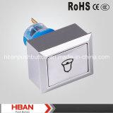 CE RoHS Hban (22mm) de cierre momentáneo con pulsador de símbolo de timbre