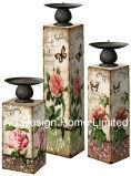 MDF dell'oggetto d'antiquariato dell'annata di disegno della Rosa della camelia S/3 di legno/supporto di candela di carta del quadrato del cilindro decalcomania del metallo
