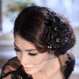 2014 черного цвета волос моды дополнительных устройств с помощью Birdcage завесы