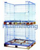 Aço de depósito da gaiola recolhível palete com palete de madeira