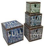 S/4 Doos van de Boomstam van de Opslag van de Druk Pu Leather/MDF van het Ontwerp van de Lach van de Liefde van de Decoratie de Antieke Uitstekende Gelukkige Vierkante Houten