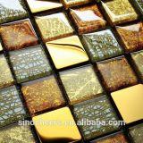 Mosaico di vetro della miscela del metallo, mosaico della stagnola di oro di Mouted della maglia di arte della parete, mattonelle della parete del mosaico