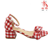 Lattice Bowknot Moda 2018 Mujer sandalias zapatos de tacón bajo (HSA31)