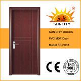 Porte en bois de forces de défense principale de porte économique de PVC (SC-P027)
