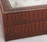 Большие вахта кожи Brown Croco космоса & коробка хранения ювелирных изделий