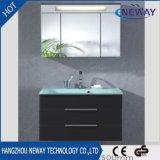 LEDミラーの陶磁器の洗面器の純木の浴室の虚栄心のキャビネット