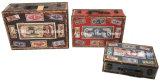 S/3 Decoración Vintage diseño antiguo mapa del mundo de la impresión de cuero de PU/cuadro de la maleta de almacenamiento de madera MDF