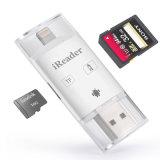 Andriod iPhone를 위한 1명의 번개 + USB + Microusb 카드 판독기 SD SDHC Sdxc Microsd Microsdhc Microsdxc 카드 판독기에 대하여 3