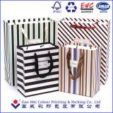 Sac de cadeau de couleur de café de sacs en papier de Papier d'emballage d'achats de qualité avec le traitement