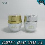 vaso vuoto crema di vetro delle estetiche bianche della perla 50g con il coperchio acrilico 50ml