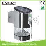 Luz modificada para requisitos particulares directa de la noche de la pared LED del jardín del sensor solar de la fábrica