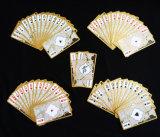 De plástico transparente/PVC jogando cartas com borda de Ouro