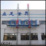 Plataforma de trabalho de escalada de mastro duplo para uso em construção