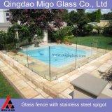Swimmingpool-Hartglas-Zaun mit Edelstahl-Befestigungsteilen