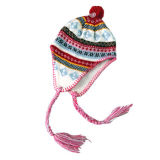 Девочек трикотажные Earflap Red Hat (JRK025)