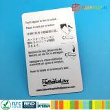 Carte principale de PVC de la puce ISO1443A MIFARE d'hôtel classique blanc programmable fait sur commande de l'IDENTIFICATION RF 1K