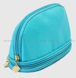 新製品の二重ジッパー光沢のある装飾的な袋のナイロンメーキャップアーティスト袋