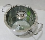 Olla de acero inoxidable / Olla de sopa con fondo de inducción y tapa de cristal