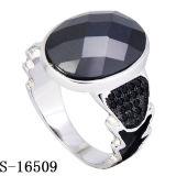 새로운 디자인 925 까만 CZ와 가진 은 반지 보석