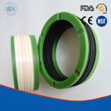 De PTFE rellena de caucho de carbono, vidrio, V-hidráulico de embalaje de las juntas de goma