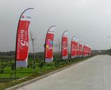Display de promoção de cores completas Bandeira de plumas com base cruzada